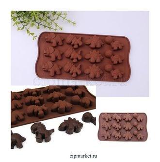 Форма для шоколада Динозавры. Размер: 21*10,5 см. - фото 6060