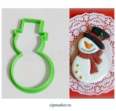 Вырубка Снеговик. Материал: пластик. Размер: 8 см. - фото 6191
