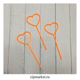 Топперы для капкейков Сердца оранжевые, набор из 3 шт. Материал: пластик. Размер: 9*3,5 см. - фото 6403