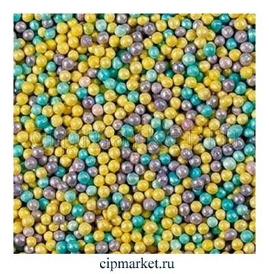 Посыпка шарики микс лилово-жёлто-голубые, 2 мм. Вес: 50 гр. - фото 6669