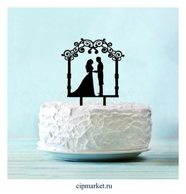 Топпер на торт Любовь навсегда. Пластик, золото. Размер: 13х18 см - фото 6720
