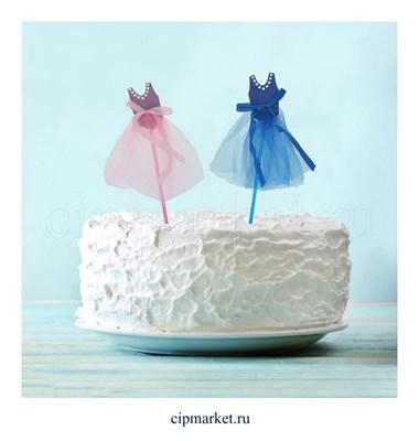 Топпер на торт Платье, набор 2 шт микс. Размер: 15х25 см - фото 6724