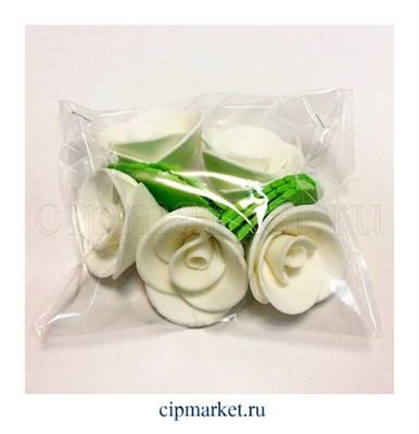 Украшение сахарное Роза Белая. Набор 5 шт. Высота 5 см - фото 6906