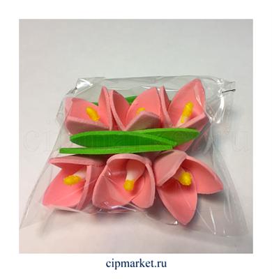 Украшение сахарное Колокольчик Розовый. Набор 6 шт. Высота: 5 см - фото 6912