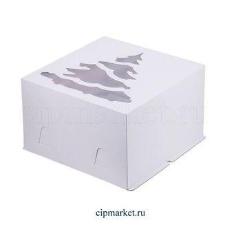 Коробка для торта с окном Елка новогодняя. Материал: картон. Россия. Размер: 30*30*19 см - фото 7003