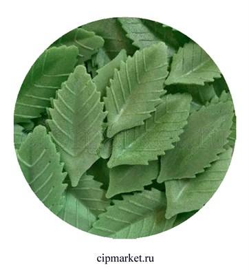 Вафельный декор Лист розы темно-зеленый, 10 шт. Размер: 4*2 см. - фото 7013