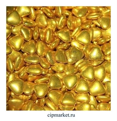Украшение шоколадное Сердце золотое. Размер: 2-2,5 см. Вес: 30 гр. - фото 7016