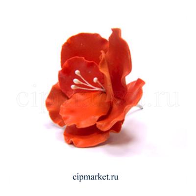 Украшение сахарное Цветок Красный Шиповник. Высота 8 см - фото 7019