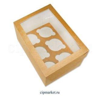 Коробка на 6 капкейков с окном ТА Крафт, картон. Размер: 25х17х10 см - фото 7022