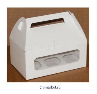 Коробка на 6 капкейков с окном и ручками ЮП Белая. Размер: 25 х17 х11 см - фото 7024