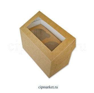 Коробка на 2 капкейка с окном ТА/БП Крафт, картон. Размер: 17х9х10 см - фото 7028