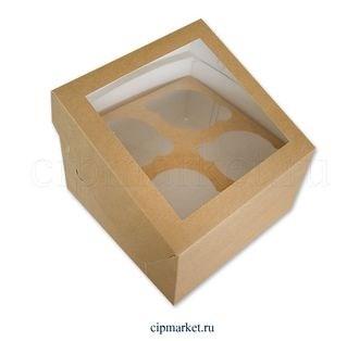 Коробка на 4 капкейка с окном ТА Крафт, картон. Размер: 17х17х10 см. - фото 7029