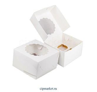Коробка на 4 капкейка с окном ромашка РК Белая. Размер: 16 х 16 х 10 см. - фото 7030