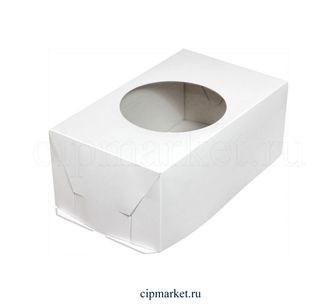 Коробка для пирожных и зефира с круглым окном ПК Эконом. Размер: 25 х15 х 10 см. - фото 7033