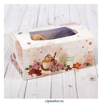 Коробка для пряников, сладостей и зефира с окном (Пряности). Размер: 18*7,5*10 см. - фото 7035