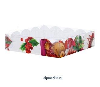 Коробка для пряников и печенья с окном XMAS РП (Новый год). Размер: 15,5*15,5*3,5 см - фото 7036