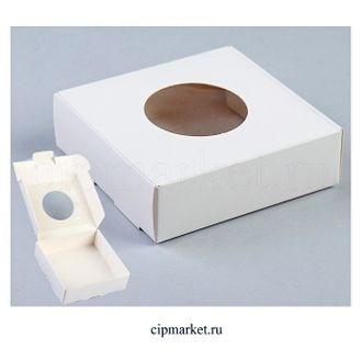 Коробка для пряников и сладостей с окном СМ Белая. Россия. Размер:11,5*11,5*3 см. - фото 7039