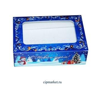 Коробка для пряников и сладостей с окном №26 (Новый год). Размер:14*9,5*4 см.  - фото 7040