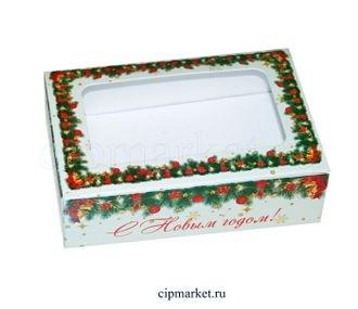 Коробка для пряников и сладостей с окном №24 (Новый год). Размер:14*9,5*4 см.  - фото 7041
