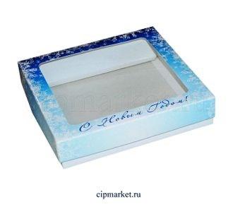 Коробка для пряников и сладостей с окном №27 (Новый год). Размер:17*17*3,5 см. - фото 7043