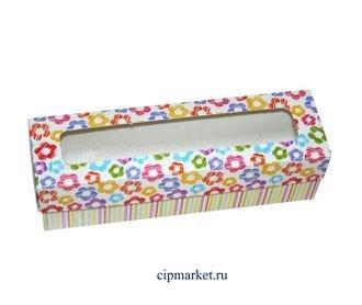 Коробочка для макарун МК (Цветочки). Размер: 20х 5,5 х 5,5 см - фото 7050