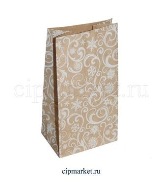 Пакет крафт коричневый МК с рисунком Узоры. Размер: 10 х 7 х 19 см - фото 7055