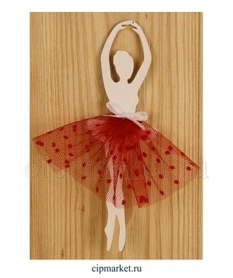 Топпер деревянный белый Балерина в красном. Размер: 5*30 см - фото 7176