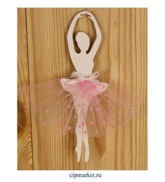 Топпер деревянный белый Балерина в розовом. Размер: 5*30 см - фото 7178