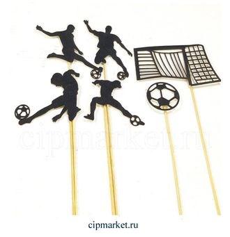 Топпер бумажный Футбол (Черный), 6 предметов. Размер: 9 см - фото 7204