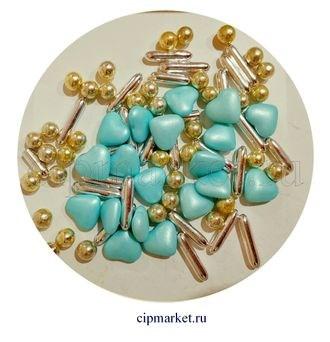 Посыпка-драже сахарное BIAMIX Микс Голубые сердца-шампань-серебро. Вес: 30 гр, Греция - фото 7248