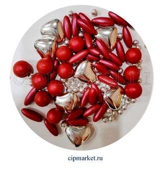 Посыпка-драже сахарное BIAMIX Микс Красный с серебром. Вес: 30 гр, Греция - фото 7251