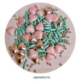 Посыпка-драже сахарное BIAMIX Микс Розово-бирюзовый в серебре. Вес: 30 гр, Греция - фото 7254