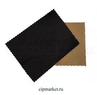 Подложка 30*40 см прямоугольная фигурная черно-золотая, 3,2 мм. Картон ламинированный - фото 7365