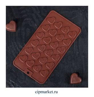 Форма для шоколада и конфет Сердечки, 24 ячейки, Размер: 21*11 см - фото 7674