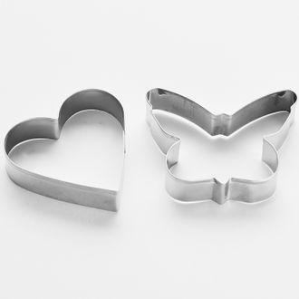 Набор форм для печенья Бабочка и сердце, 2 шт. Размер: 6,5*6,5 см. - фото 7718