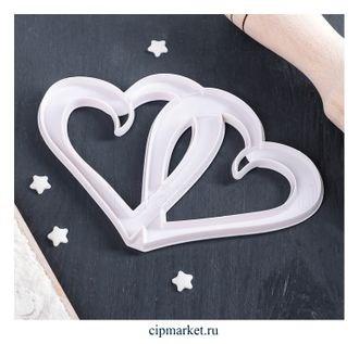 Вырубка Сердце двойное. Материал: пластик. Размер: 13*8,5 см. - фото 7801