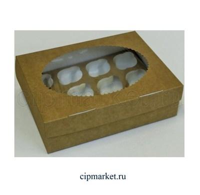 Коробка на 12 капкейков с окном ЮП Крафт, картон. Размер: 35 х 25 х10 см - фото 7963