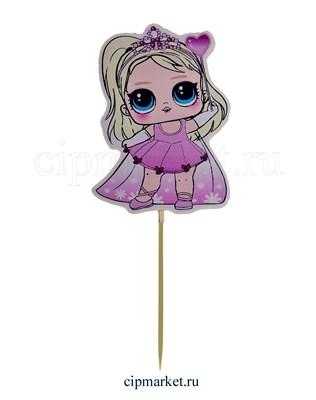 Топпер пластик СТ Мульт Куколка (Розовое платье). Размер фигурки: 8*12 см - фото 8043