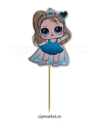 Топпер пластик СТ Мульт Куколка (Голубое платье). Размер фигурки: 8*12 см - фото 8045