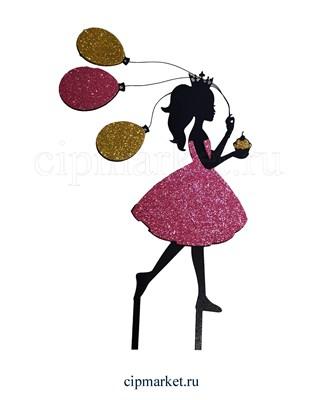Топпер пластик СТ Блеск Девочка с шариками (Розовое платье). Размер фигурки:18*13 см - фото 8062