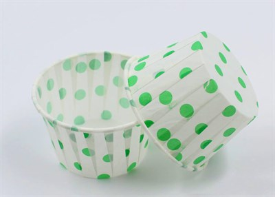 Формы бумажные маффин Белые в зеленый горох, набор 10 шт. Диаметр дна:5 см, высота: 4 см. Артикул: 11400 - фото 8072