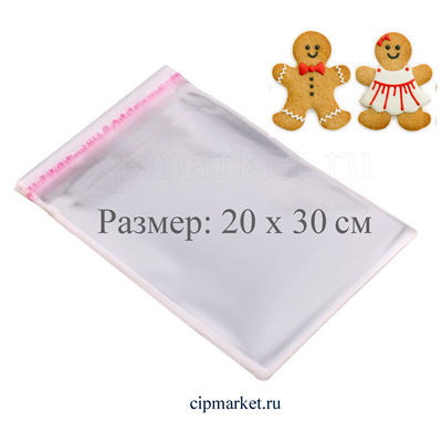 Пакеты упаковочные прозрачные с клейкой полосой ТП, набор 50 шт. Размер: 20*30 см - фото 8102