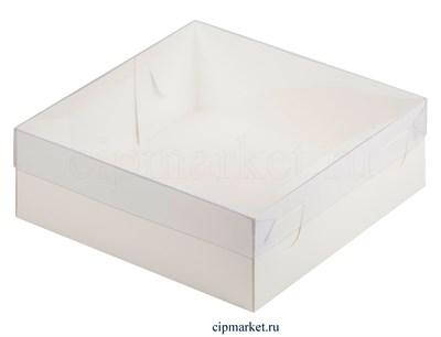 Коробка для пирожных и зефира с окном и пластиковой крышкой Премиум РК Белая. Размер: 20 х 20 х 7 см - фото 8111