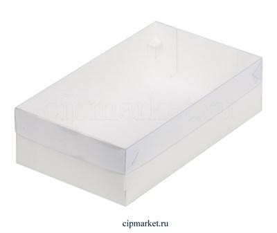 Коробка для пирожных и зефира с окном и пластиковой крышкой Премиум РК Белая. Размер: 25 х 15 х 7 см - фото 8113