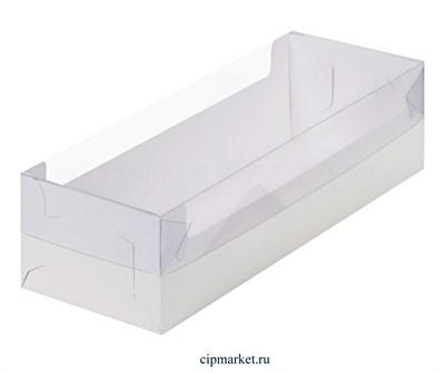 Коробка для рулета, зефира с окном и пластиковой крышкой Премиум РК Белая. Размер: 30 х 11 х 8 см - фото 8115