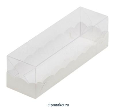 Коробочка для макарун с окном и пластиковой крышкой Премиум РК Белая. Размер: 19 х 5,5 х 5,5 см - фото 8117