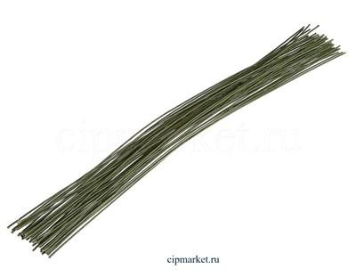 Проволока зеленая флористическая в оплетке 0,7 мм, длина: 36 см, 20 шт (№24) - фото 8190