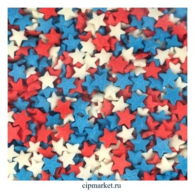 Посыпка Звезды красно-бело-синие. Вес: 50 гр. - фото 8251