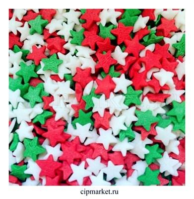 Посыпка Звезды красно-бело-зеленые. Вес: 50 гр. - фото 8252