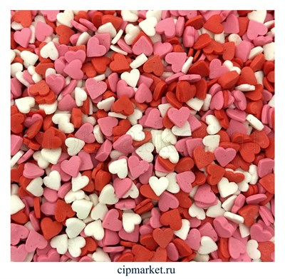 Посыпка Сердца красно-бело-розовые Мини. Вес: 50 гр - фото 8253